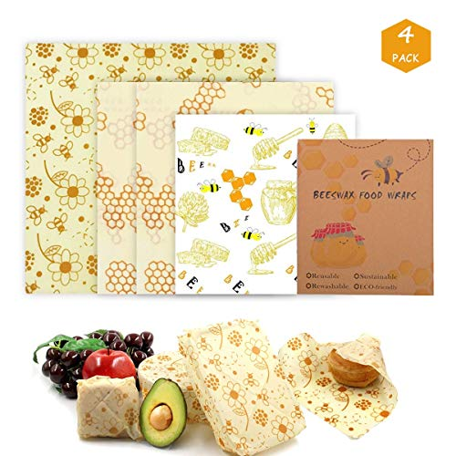 Meowoo Beeswax Food Wraps,Reusable Eco Friendly Bee Wax Wrap,Suitable for Fruits Vegetables Sandwiches etc