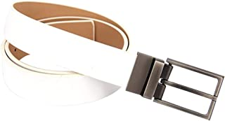 Men's Belt Double-Sided Matte Rotating pin Buckle Casual Belt (Color : White, Size : 120cm)
