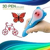3D Stift, MODAR 3D Pen PCL für Kinder, wiederaufladbar 3D Stift Set mit Akku, Niedrige Temperatur, 1,75mm PCL Filament schönes Geschenk für Kinder, Potenzial von Kinder erschließen, umweltfreundlich und harmlos, Blau