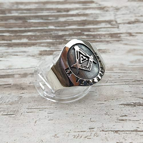 Square and Compass Masonic Ring, Ex Tenebris Lux Ring, Vintage Masonic Ring, Cigar Band Masonic ring | Freemason Ring | Sterling Silver 925, Yellow, White Gold | Handmade | Any Sizes