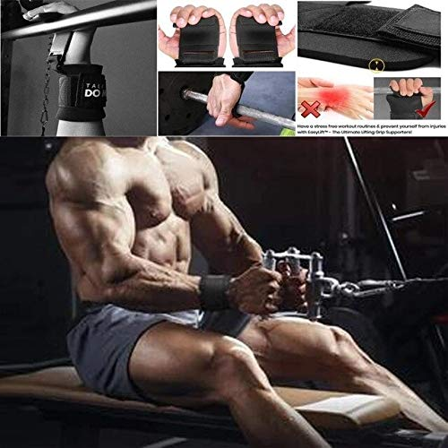Gather together Black Weight Lifting Rod Hooks Heavy Duty Wrist Wraps Power Dumbbell Training Gloves Wristband Wrestle Professional Sports Protect