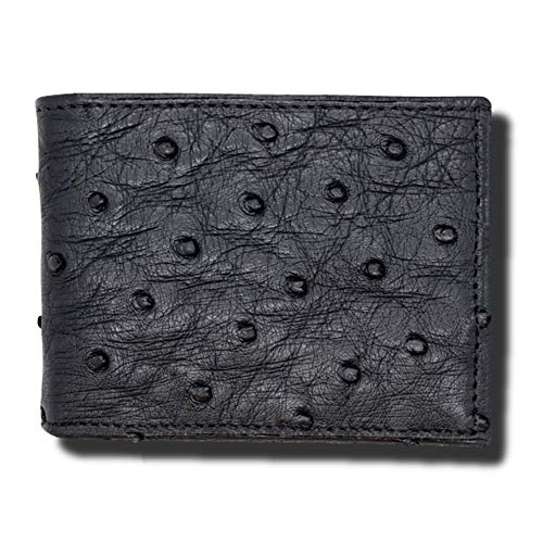 Black Genuine Ostrich Skin Wallet - RFID Blocking – American Factory Direct – Made in USA by Real Leather Creations FBA995