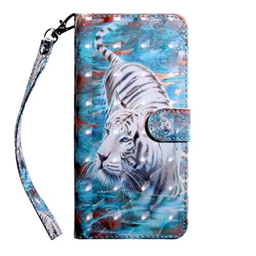 Sunrive Funda para Xiaomi Mi 8 Lite, Protectiva Carcasa Cuero Resistente Cierre Magnético,Carcasa en Folio, Soporte Plegable,Ranuras para Tarjetas (T Tigre 2)