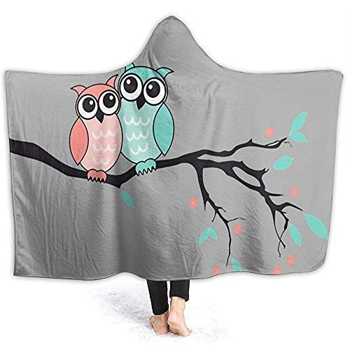 Darlene Ackerman(n) Eulen auf Zweigen Loveer Hooded Throw Wrap Weiche Flanell Hooded Blanket Hoodie Premium Blanket Hooded Robe Hooded Sherpa Blanket