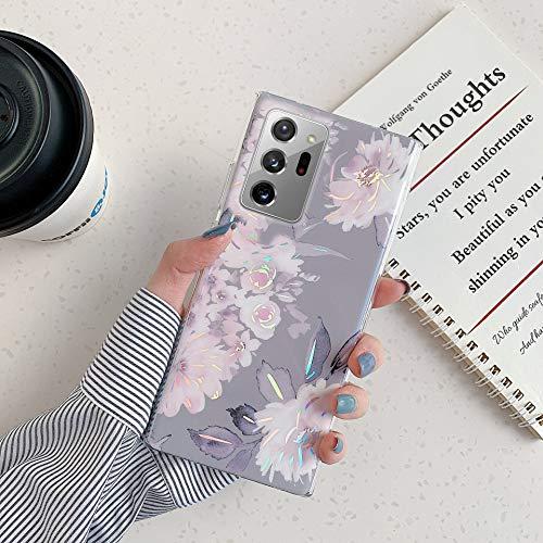 Herbests Kompatibel mit Samsung Galaxy Note 20 Ultra Hülle Glänzend Bunt Blumen Weich Silikon Handy Schutzhülle Ultra Dünn Handytasche Case TPU Silikon Hülle Case Tasche Rückseite Glitzer Hülle,Grau