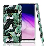 GOLINK Case for Galaxy S10, Matte Finish Floral Series IMD Printing Slim Fit TPU Gel Case for S10 (6.1' 2019 Released)-Banana Leaves