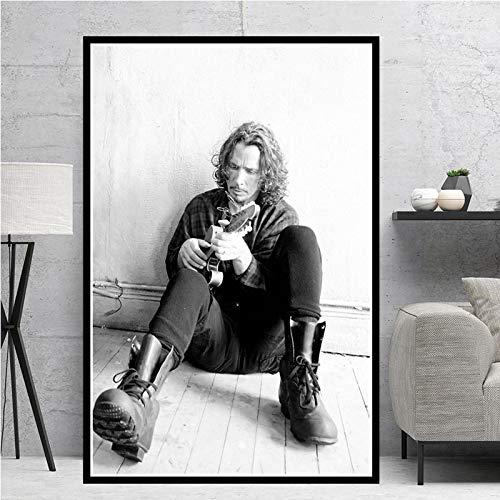 YF'PrintArt Estrella De La Música De La Guitarra De Chris Cornell Y Pintura De La Lona Cuadros De La Pared De La Vendimia para La Decoración del Hogar De La Sala De Estar 50X70Cm No Cuadro,-Yf
