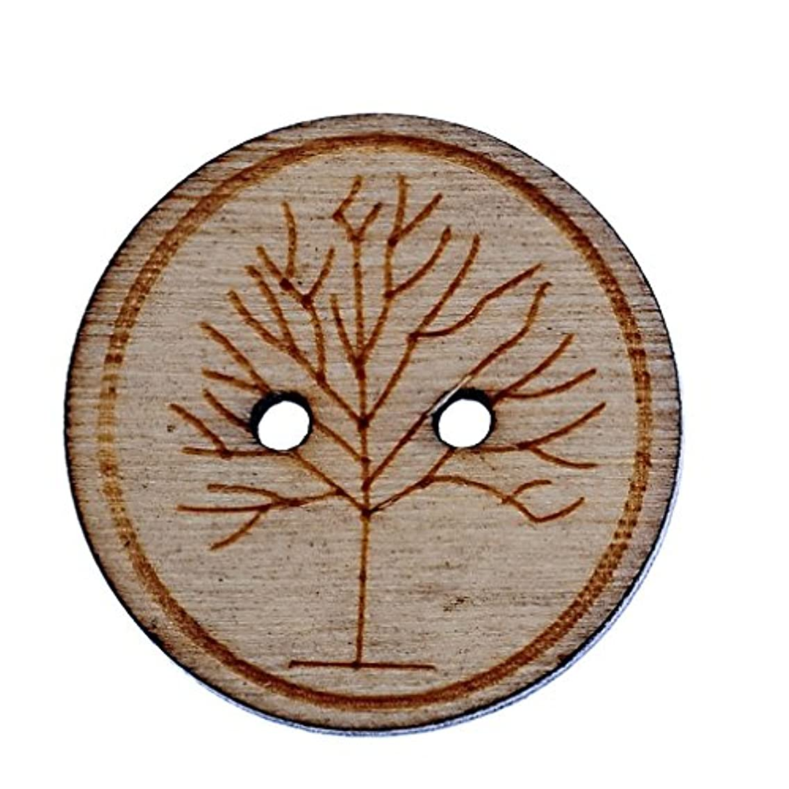 Souarts 25mm Pack of 50pcs Natural Color Round Shape 2 Holes Wood Wooden Buttons Life Tree Printed