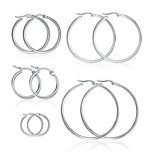 Bliqniq 5 Paare Edelstahl Creolen Ohrringe Silber Damen Herren 15mm 20mm 30mm 40mm 50mm Rund Groß Hängend Silberweiß Modeschmuck für Frauen Männer