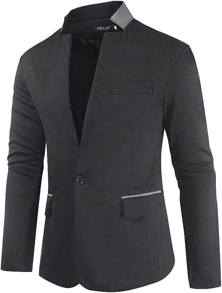 Guiran Mens Casual Blazer One Button Slim Fit Suit Jacket