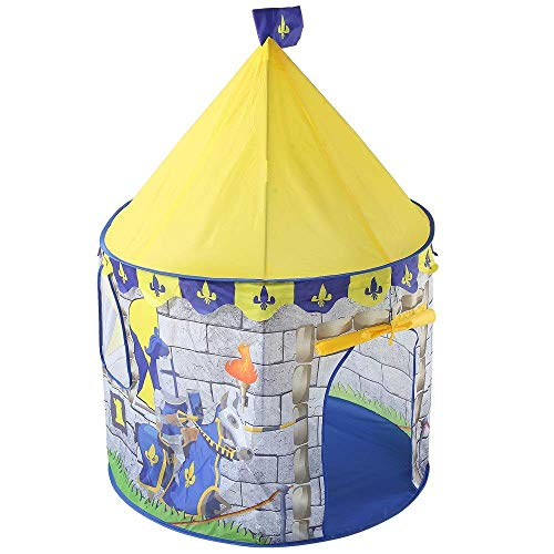 Decoración de muebles Carpa de juego Carpa de juego con tema de castillo de caballero amarillo Carpa de juego linda y plegable Princesa Casa de juegos grande India Interior Diversión al aire libre
