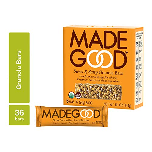 MadeGood Sweet and Salty Granola Bars, Gluten Free & Safe For School Snacks, 36 Count