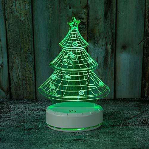 YIXIN2013SHOP Lámpara de Noche 3D USB de Carga por inducción Noche del Tacto 3D Luz acrílico Árbol de Navidad de luz LED 3D Colorido lámpara de ilusión