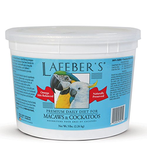 LAFEBER'S Premium Daily Diet Pellets Pet Bird Food, Made with Non-GMO and Human-Grade Ingredients, for Macaws & Cockatoos, 5 lbs