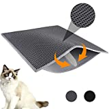 Waretary Professional Cat Litter Mat, Honeycomb 30'x 24', Double Layer Waterproof Urine Proof Trapping Mat for Litter Boxes, Litter Trapping Large Size Easy Clean Scatter Control (Grey)