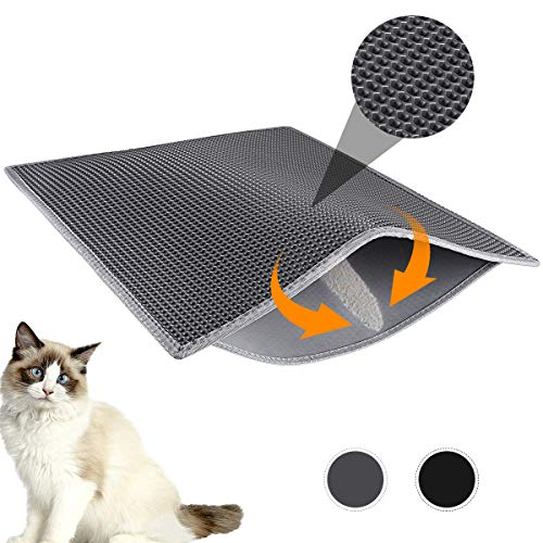 Easy Clean Litter Box Carpet Kitty Litter Trapping Mesh Mat Scatter Control WePet Cat Litter Mat Urine Waterproof 35 x 23 Inch Large No Phthalate Washable Premium Durable PVC Rug