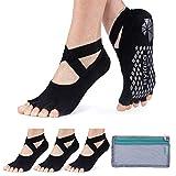 Hylaea - Calcetines de yoga para mujer con agarre y antideslizante sin dedos para ballet, pilates y baile, 7.5-9.5, 3 Pares Negro