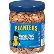PLANTERS Cashew Halves & Pieces, 1 Lb 10 oz. Resealable Canister | Energy Snacks & Snacks for Adults | Shareable Snacks | Kosher