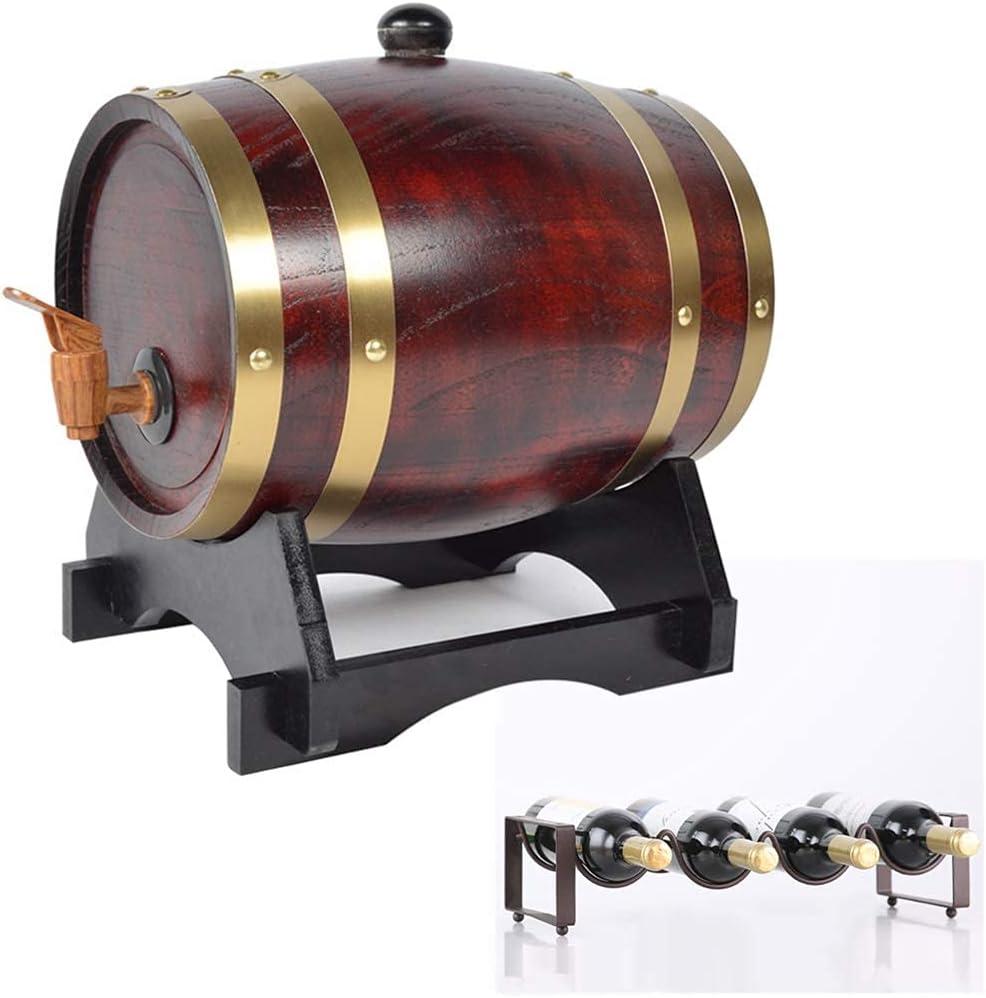 GAXQFEI Barril de Madera, Barril de Whi Del Barril de Roble, Cañón de Cerveza de Roble de 1.5L con Estante de Botellas para Alenar Vino, Vino de Miel, Cerveza, Sidra, Whi (Vintage, 1.5L),Clásico,1.5L