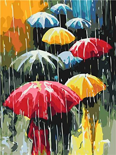 Wangchengo Malen nach Zahlen DIY Ölgemälde für Kinder Erwachsene Anfänger Regenschirm Leinwanddruck Wandkunst Dekoration 16x20 Zoll(Ohne Rahmen)