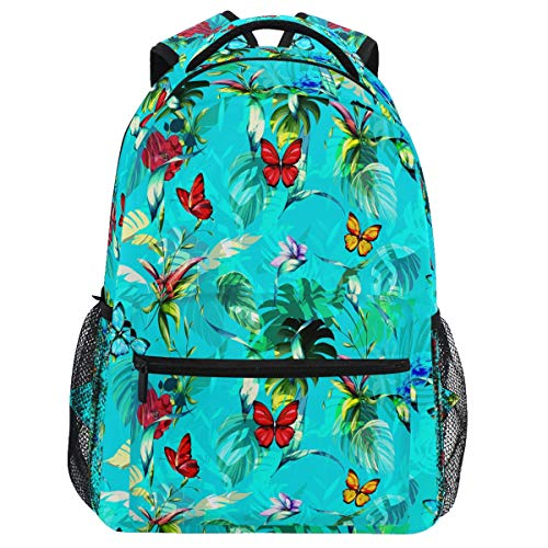 Oarencol mochila tropical de palmera mariposa colorida hojas de flores mochila bolsa de viaje senderismo camping escuela portátil
