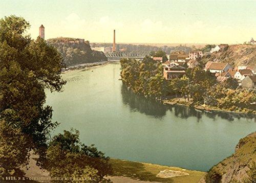 Vintage Photography aus Deutschland circa 1890–1910Giebichenstein (Stöckse) Ruinen & Tal der Saale, Halle, deutsch Sachsen 250gsm, Hochglanz, A3, vervielfältigtes Poster