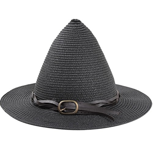 SAYM Women Fashion Candy Color Children Straw Pointed Witches' Hat Beach Sun Cap Black