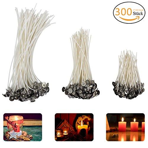 Madholly 300 Velas, mecha de vela en 3 tamaños diferentes (90 mm, 150 mm y 200 mm) para la fabricación de velas, vela DIY ...