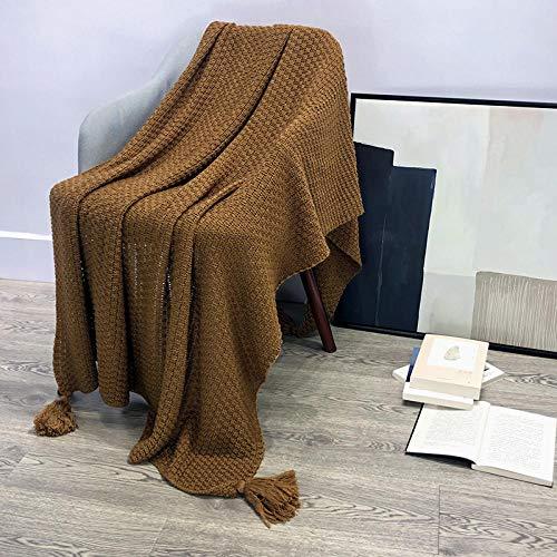 Coperta morbida - tante dimensioni e colori diversi - coperta in microfibra da soggiorno copriletto copri divano - vello in microfibra di flanella -Marrone_130 cm * 170 cm.