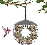 Dyna-Living Wildvögel Vogelfutterstation Fat Ball Futterhäuschen Hängende Futterhäuschen Metall Runde Form mit Kunststoffdeckel Garten Outdoor zum Anlocken von Rotkehlchen Spatzen Wildvögel