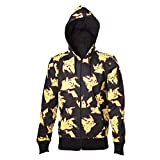 POKEMON Pikachu All Over Hoodie, Capucha para Hombre, Negro, Large