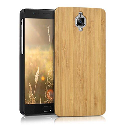 kwmobile Coque Compatible avec OnePlus 3 / 3T - Housse de Protection Rigide pour Télephone en Bois Marron Clair