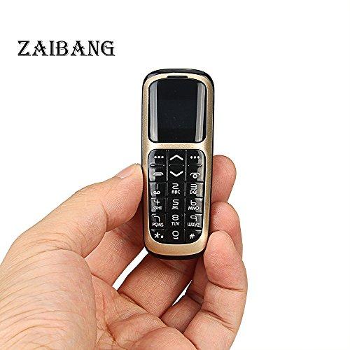 LONG CZ V2 3 in 1 Micro-Mini-Telefon Kleinste Bluetooth Telefon 3 in 1 entsperrt Micro SIM Telefon + Bluetooth Dialer + Kopfhörer 99,9% Kunststoff Boss Telefon Mini SIM Karte 2G GSM (Gold)