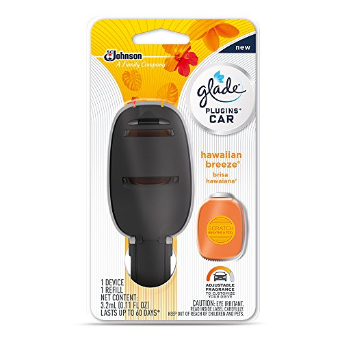 Glade PlugIns Car Air Freshener Starter Kit, Hawaiian Breeze, 0.11 fl oz