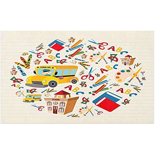 Marlon Kitty Vorschule Fußmatte, Schule Thema Bücher Schere Rechner ABC Alphabet Crayon Bus Aquarell Pinsel, Bodenmatte