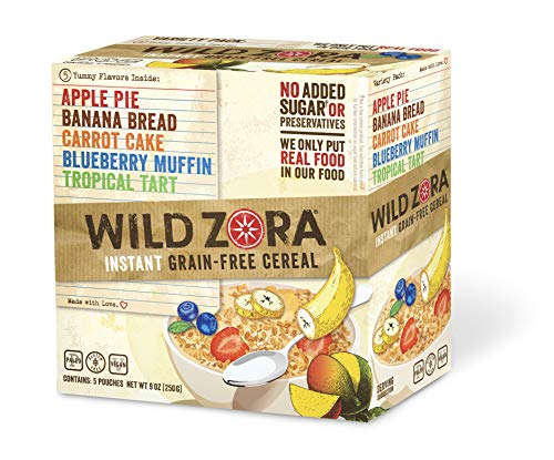 Wild Zora Instant Grain Free Hot Cereal - Variety Pack - Oatmeal Substitute, Vegan Breakfast, No Sugar Added, Gluten Free - Individual Packets (5-Pack)