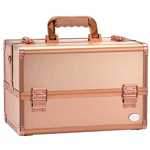 Joligrace Makeup Train Case Professional - 13.5 Inch Portable Artist Lockable Aluminum Cosmetic Organizer Storage Box with 4 Adjustable Dividers Trays 2 Locks and Shoulder Strap Rose Gold