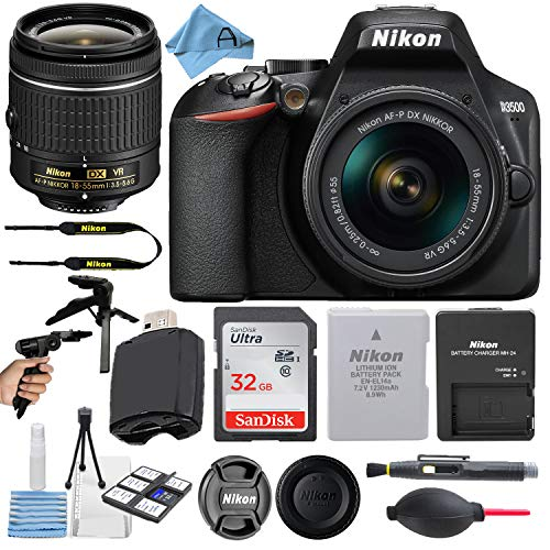 Nikon D3500 24.2MP DSLR Digital Camera with NIKKOR 18-55mm VR Lens + SanDisk 32GB Memory Card + Hi-Speed USB Card Reader + Tripod + A-Cell Accessory Bundle