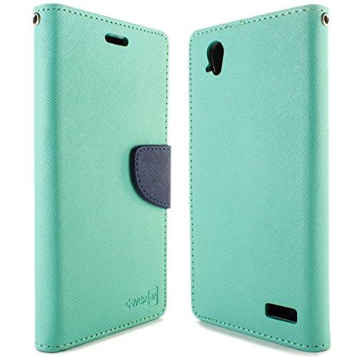Warp Elite Case, CoverON [Carryall Series] Flip Folio Card Slot Pouch Cover LCD + Strap + Stand Wallet Case for ZTE Warp Elite - Teal & Navy Blue