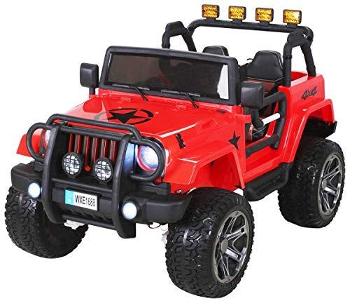PEQUENENES Coche ELECTRICO para NIÑO Jeep Wrangler 2 PLAZAS 24 V Rojo