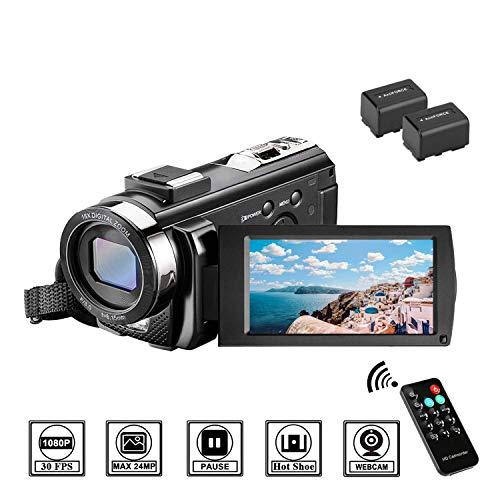 Videocamera Full HD 1080P 30FPS Fotocamera Digitale 3.0' LCD Schermo Ruotabile 270° Zoom Digitale 16X Webcam Videocamera Digitale con Telecomando e Batteries