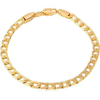 "U7 Men Women Cuban Link Bracelet|Stainlss Steel 18K Gold Plated Diamond Cut 3mm 5mm 6mm 7mm 9mm 12mm Wide Miami Curb Chain Wrist Bracelet, Length 6.5"" 7.5"" 8.26"", with Gift Box"