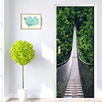 3Dドア壁画ステッカー 3D吊橋の壁紙Pvc防水粘着性の取り外し可能なドアステッカー壁画
