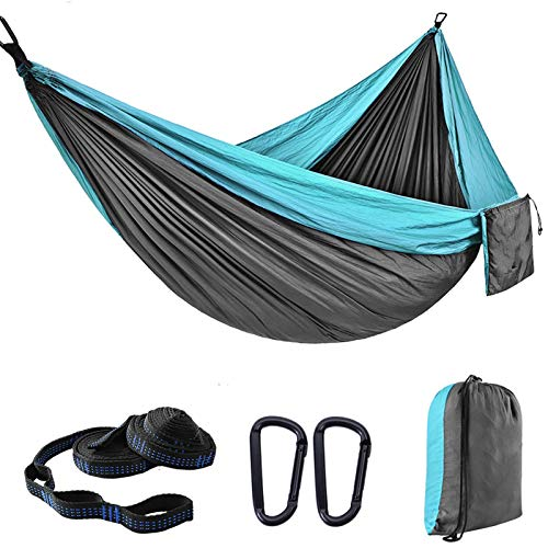 Ultraleicht Reise Camping Hängematte | 300 kg Tragfähigkeit, (270 x 140 cm) Fallschirmnylon | 2 x Premium Karabiner, 2 x Nylonschlingen inklusive | Für den Outdoor Indoor Garden (Blau)