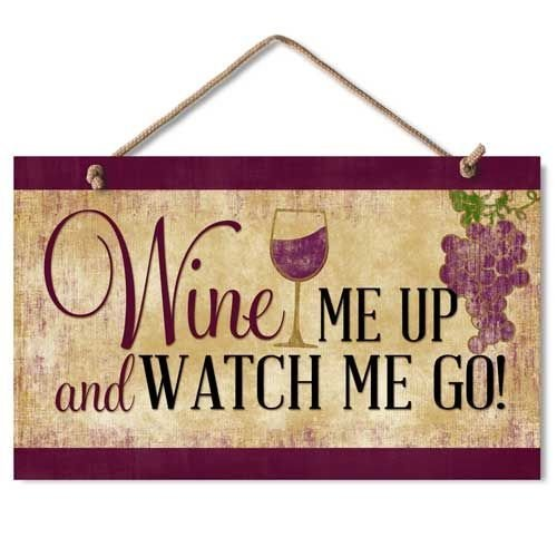 "Highland Graphics ""Wine Me Up"" Wood Kitchen Sign,brown"