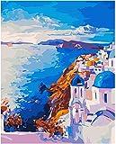 Pintar por nmeros para Adultos Paisaje de Grecia Pintura para Pintar por nmeros con Pinceles y Colores Brillantes - Cuadro de Lienzo con numeros pre Dibujado fcil de Pintar - Paisaje