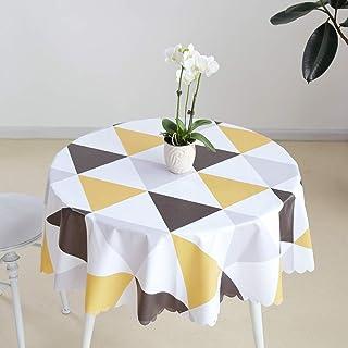 Meioro Nappes Ronde Nappe Rond PVC Essuyable Tissu de Table Etanche Anti-Tâche Facile à Nettoyer Nappe Treillis Triangulai...