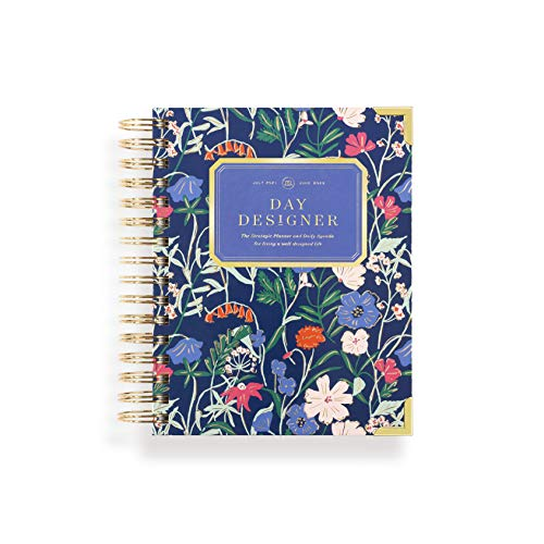 """Day Designer 2021-2022 Academic Year Mini Daily Planner, Life and Goal Yearly Planner, Wildflowers Hardcovers, Spiral Bound, 6.7"""" x 8.3"""" Overall"""