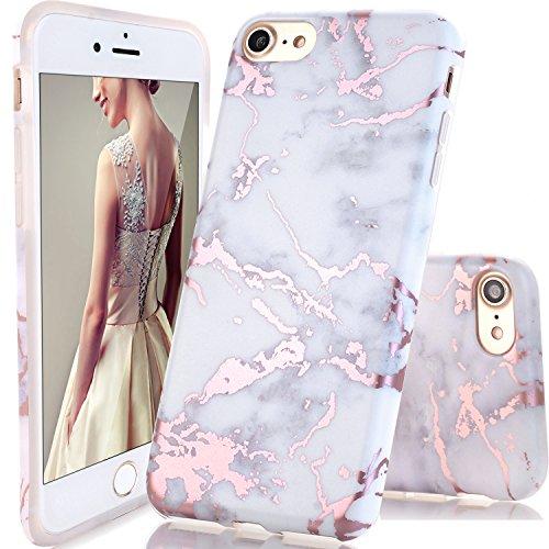 DOUJIAZ Schutzhülle für iPhone 7, iPhone 8, glänzend, Roségold, Weiß, Marmor-Design, durchsichtig, TPU, weiche Silikonhülle für iPhone 7 (2016)/iPhone 8 (2017)