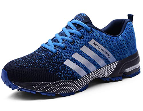Acrossage Women Men Trail Running Shoes Athletic Sneakers Knit Non-Slip Shoes for Road Running Blue